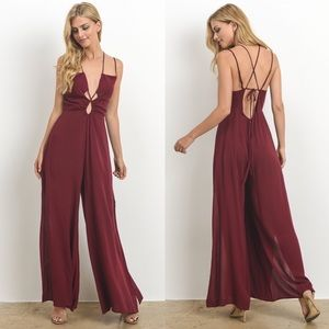 JOSIE Strappy Jumpsuit - WINE